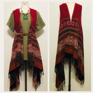Earthbound Trading Co//Fringed blanket vest